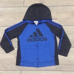 Adidas Boys Black And Blue sweatshirt Hoodie Sz 7